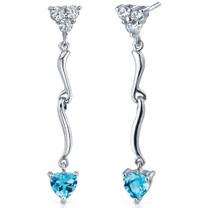 Brilliant Love 2.00 Carats Swiss Blue Topaz Heart Shape Dangle CZ Earrings in Sterling Silver Style SE7336