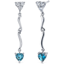Brilliant Love 2.00 Carats London Blue Topaz Heart Shape Dangle CZ Earrings in Sterling Silver Style SE7338