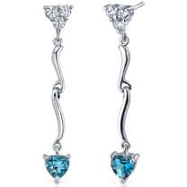 Brilliant Love 2.00 Carats London Blue Topaz Heart Shape Dangle CZ Earrings in Sterling Silver Style SE7338