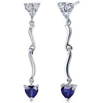 Brilliant Love 2.00 Carats Blue Sapphire Heart Shape Dangle CZ Earrings in Sterling Silver Style SE7342