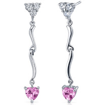 Brilliant Love 2.00 Carats Pink Sapphire Heart Shape Dangle CZ Earrings in Sterling Silver Style SE7344