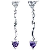 Brilliant Love 2.00 Carats Alexandrite Heart Shape Dangle CZ Earrings in Sterling Silver Style SE7346
