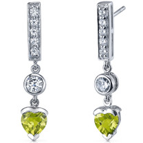 Exotic Love 1.50 Carats Peridot Heart Shape Dangle CZ Earrings in Sterling Silver Style SE7352