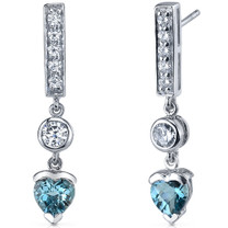 Exotic Love 2.00 Carats London Blue Topaz Heart Shape Dangle CZ Earrings in Sterling Silver Style SE7356