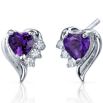Cupids Grace 1.00 Carats Amethyst Heart Shape CZ Earrings in Sterling Silver Style SE7366
