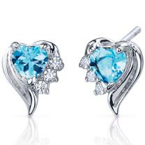 Cupids Grace 1.00 Carats Swiss Blue Topaz Heart Shape CZ Earrings in Sterling Silver Style SE7372