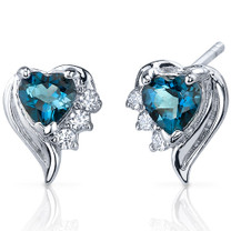 Cupids Grace 1.00 Carats London Blue Topaz Heart Shape CZ Earrings in Sterling Silver Style SE7374