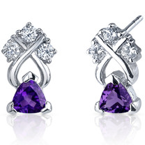 Regal Elegance 1.00 Carats Amethyst Trillion Cut CZ Earrings in Sterling Silver Style SE7384