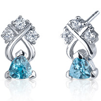 Regal Elegance 1.00 Carats Swiss Blue Topaz Trillion Cut CZ Earrings in Sterling Silver Style SE7390