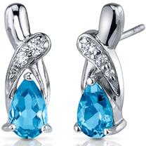 Graceful Glamour 2.00 Carats Swiss Blue Topaz Pear Shape CZ Earrings in Sterling Silver Style SE7426
