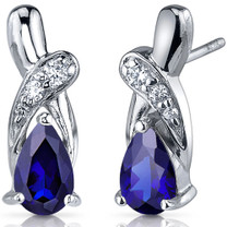 Graceful Glamour 2.00 Carats Blue Sapphire Pear Shape CZ Earrings in Sterling Silver Style SE7432