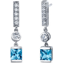 Exotic Sparkle 2.50 Carats Swiss Blue Topaz Princess Cut Dangle CZ Earrings in Sterling Silver Style SE7462