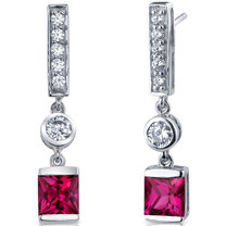 Exotic Sparkle 3.00 Carats Ruby Princess Cut Dangle CZ Earrings in Sterling Silver Style SE7466