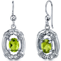 Antique Style 1.50 Carats Peridot Oval Cut Dangle CZ Earrings in Sterling Silver Style SE7478