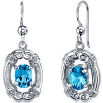 Antique Style 2.00 Carats Swiss Blue Topaz Oval Cut Dangle CZ Earrings in Sterling Silver Style SE7480