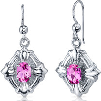 Victorian Design 2.00 Carats Pink Sapphire Oval Cut Dangle CZ Earrings in Sterling Silver Style SE7506