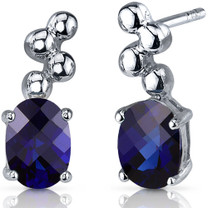 Bubbly 2.00 Carats Blue Sapphire Oval Cut Earrings in Sterling Silver Style SE7540