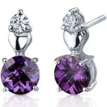 Gleaming Heart 2.50 Carats Alexandrite Round Cut CZ Earrings in Sterling Silver Style SE7616