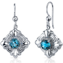 Victorian Style 2.00 Carats London Blue Topaz Round Cut Dangle CZ Earrings in Sterling Silver Style SE7626