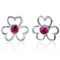 Floral Heart Design 1.50 Carats Ruby Round Cut Earrings in Sterling Silver Style SE7646