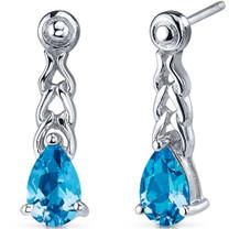 Intricate Allure 2.00 Carats Swiss Blue Topaz Pear Shape Drop Earrings in Sterling Silver Style SE7696