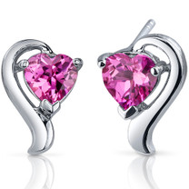 Cupids Harmony 2.00 Carats Pink Sapphire Heart Shape Earrings in Sterling Silver Style SE7758