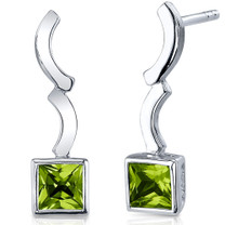 Modern Curves 1.50 Carats Peridot Princess Cut Earrings in Sterling Silver Style SE7784