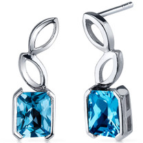 Elegant Leaf Design 2.00 Carats Swiss Blue Topaz Radiant Cut Earrings in Sterling Silver Style SE7822