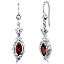 Dynamic Dangle 1.50 Carats Garnet Marquise Cut Earrings in Sterling Silver Style SE7854