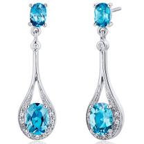 Glamorous 3.50 carats Swiss Blue Topaz Oval Cut Dangle Diamond CZ Earrings in Sterling Silver Style SE7930