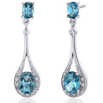 Glamorous 4.00 carats London Blue Topaz Oval Cut Dangle Diamond CZ Earrings in Sterling Silver Style SE7932