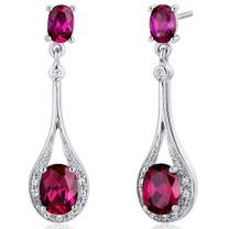 Glamorous 4.50 Carats Ruby Oval Cut Dangle Diamond CZ Earrings in Sterling Silver Style SE7934