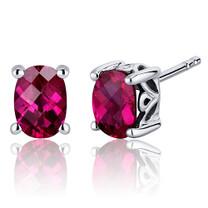Basket Style 2.00 Carats Ruby Oval Cut Stud Earrings in Sterling Silver Style SE7970