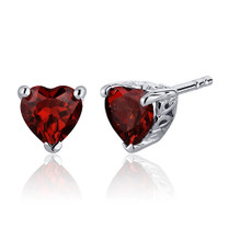 2.00 Carats Garnet Heart Shape Stud Earrings in Sterling Silver Style SE7980