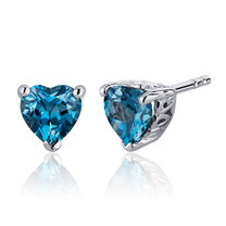 2.00 Carats London Blue Topaz Heart Shape Stud Earrings in Sterling Silver Style SE7986