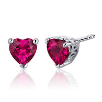 2.00 Carats Ruby Heart Shape Stud Earrings in Sterling Silver Style SE7988