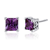 3.00 Carats Alexandrite Princess Cut Scroll Design Stud Earrings in Sterling Silver Style SE8030