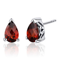 2.00 Carats Garnet Pear Shape Basket Style Stud Earrings in Sterling Silver Style SE8034