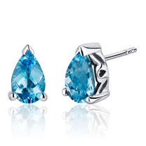 2.00 Carats Swiss Blue Topaz Pear Shape Basket Style Stud Earrings in Sterling Silver Style SE8038