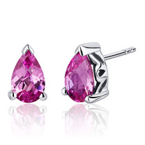 2.00 Carats Pink Sapphire Pear Shape Basket Style Stud Earrings in Sterling Silver Style SE8046