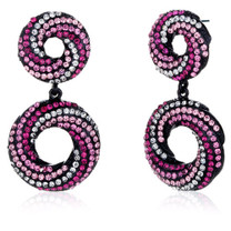 Elliptical Glamour Pink and Clear Swarovski Crystal Dangle Earrings Style SE8092