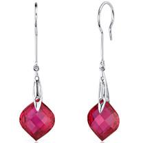 Onion Cut 19.00 Carats Ruby Dangle Earrings in Sterling Silver Style SE8130