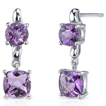 Cushion Cut 2.50 Carats Amethyst Earrings in Sterling Silver Style SE8150