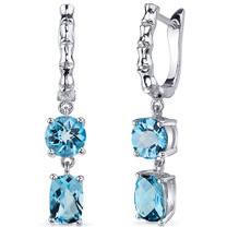 French Clip 4.00 Carats Swiss Blue Topaz Earrings in Sterling Silver Style SE8156