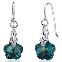 Florentine Cut 10.00 carats Alexandrite Fishhook Earrings Sterling Silver Style SE8172