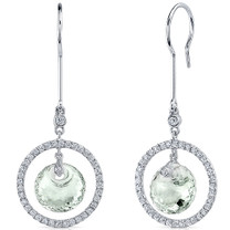 Circle of Life 8.00 Carats Green Amethyst Spherical Cut Dangle Earrings in Sterling Silver Style SE8174