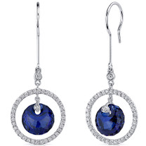 Circle of Life 11.00 Carats Blue Sapphire Spherical Cut Dangle Earrings in Sterling Silver Style SE8180