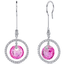 Circle of Life 12.00 Carats Pink Sapphire Spherical Cut Dangle Earrings in Sterling Silver Style SE8182