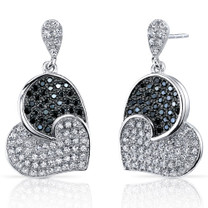 Spectacular Tilted Heart Black and White CZ Sterling Silver Dangle Earrings Style SE8212