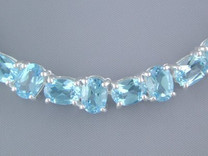 74.00 cts Oval Swiss Blue Topaz Necklace in Sterling Silver Style SB1286